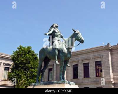 Native American statue on horse arms wide to the sky, Museum of Fine Arts, Boston MA, USA - Stock Photo