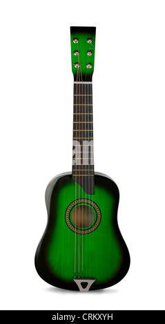 Green wooden acoustic guitar isolated on white - Stock Photo