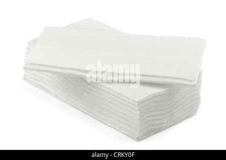 Stack of white l tissue paper isolated on white - Stock Photo