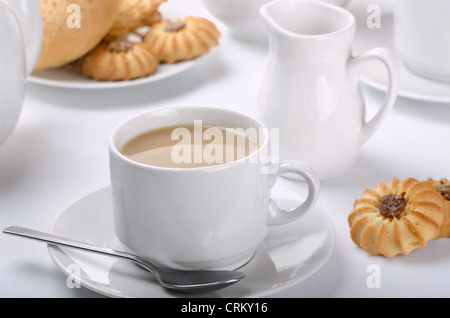 Cup of english tea with milk. Still life. - Stock Photo