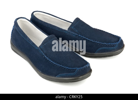 Blue soft suede casual loafer isolated on white - Stock Photo