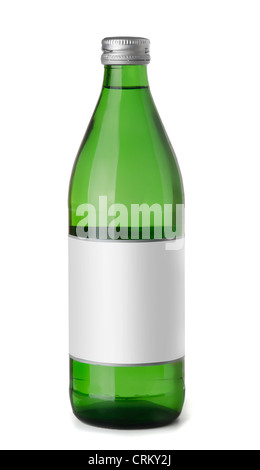 Green glass bottle of sparkling water isolated on white - Stock Photo