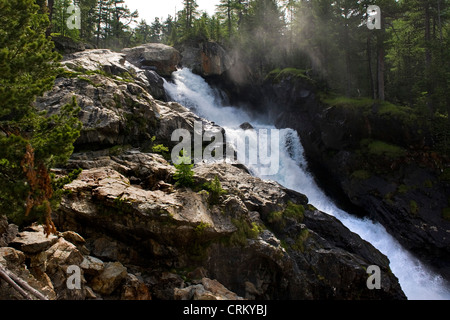 Switzerland, Canton Grisons, Bernina express, waterfall - Stock Photo