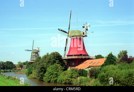 The twin mills Greetsiel - Stock Photo