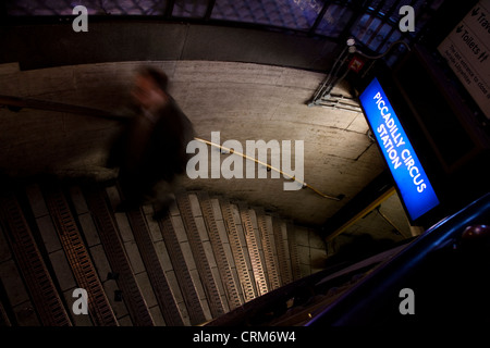 Piccadilly Circus Underground Station Entrance - Stock Photo