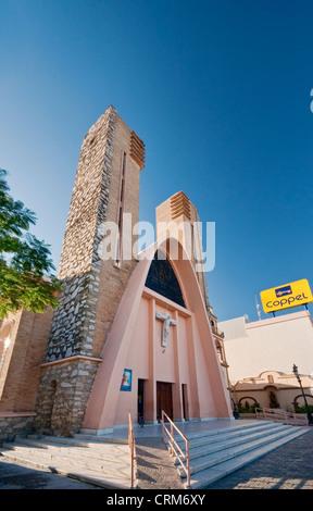 Parroquia de Nuestra Senora de Guadalupe, church at Plaza Principal in Reynosa, Rio Grande Valley, Tamaulipas, Mexico - Stock Photo