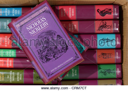 Box of Charles Dickens novels, Nicholas Nickleby, England - Stock Photo