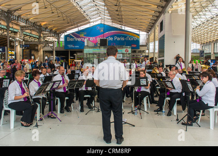 World Music Day Celebrations, Paris, France, Symphony Orchestra Performing in Train Station, Gare de Nord, National - Stock Photo