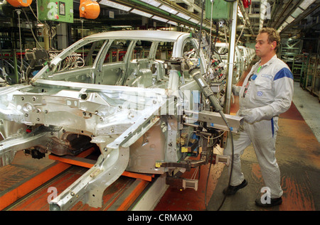 Automobile production at Volkswagen AG at the Emden plant - Stock Photo