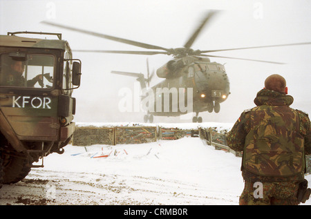 Bundeswehr helicopter lands in Prizren, Kosovo - Stock Photo