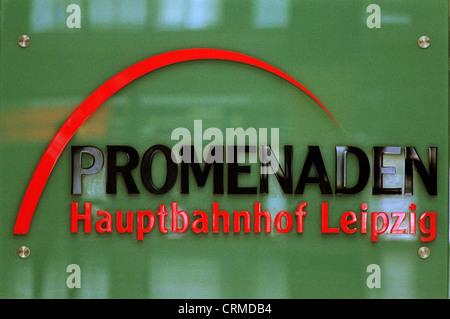 Logo of the promenades in Leipzig Hauptbahnhof - Stock Photo