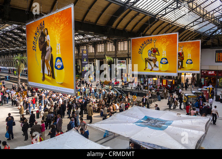 Paris, France, High Angle, Aerial View of Crowds, French Soft drink Advertising Billboards in Train Station, 'Gare - Stock Photo