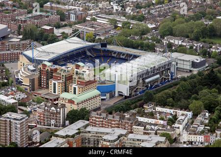 aerial view of the Chelsea FC's football stadium, Stamford Bridge, London,UK - Stock Photo