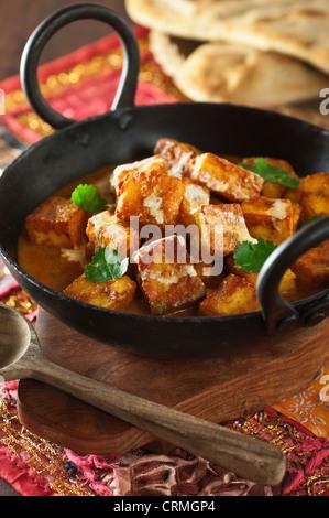 Paneer tikka masala Indian Tandoori grilled cheese vegetarian dish - Stock Photo