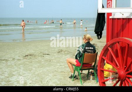 Borkum, DLRG guard on the beach - Stock Photo