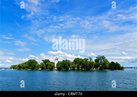 Fraueninsel Island on Lake Chiemsee in the Bavarian Alps - Stock Photo