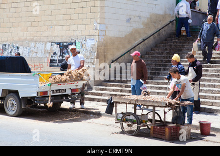 People who sell vegetables on the streets of the city of Sousse, Tunisia - Stock Photo