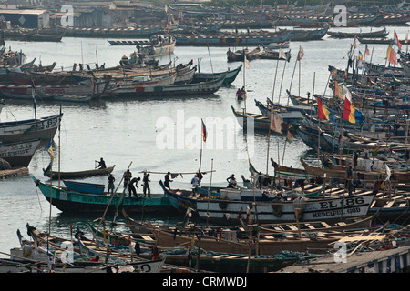 Fishing boats in the harbor of Elmina, about 130km west of Ghana's capital Accra on Thursday April 9, 2009. - Stock Photo