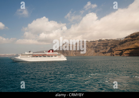 The Zenith cruise ship moored off the island of Santorini, Greece - Stock Photo