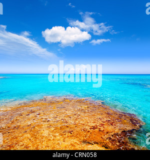 Formentera Es Calo beach with turquoise sea in Mediterranean balearic islands - Stock Photo