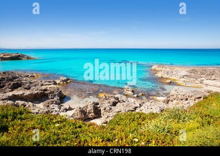 Balearic Formentera island in Escalo beach mediterranean turquoise sea - Stock Photo