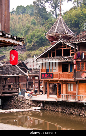Village of Zhaoxing, Guizhou province - China - Stock Photo
