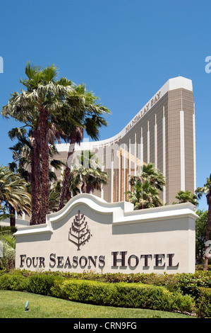 Sign for Four Seasons Hotel, part of the Mandalay Bay Resort in Las Vegas, Nevada, United States of America, USA - Stock Photo