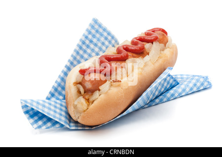 Hot dog roll with fried onions and tomato sauce in napkin on a white background - Stock Photo
