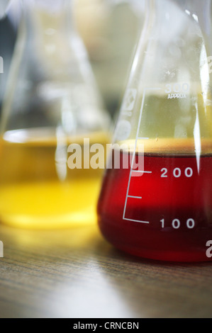 Two Erlenmeyer flask containing unknown yellow and red liquid - Stock Photo