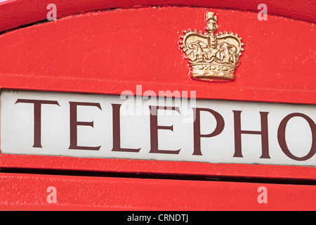 Detail of red phone box, London, England - Stock Photo