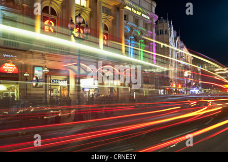 The London Pavilion and light trails at night, Piccadilly Circus, London, England - Stock Photo