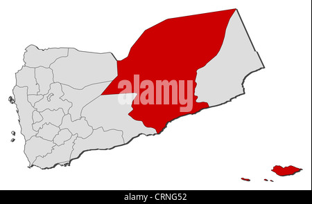 Political map of Yemen with the several governorates where Hadhramaut is highlighted. - Stock Photo