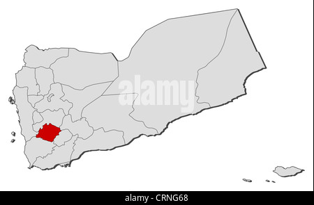 Political map of Yemen with the several governorates where Ibb is highlighted. - Stock Photo