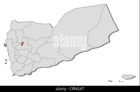 Political map of Yemen with the several governorates where Sanaa is highlighted. - Stock Photo