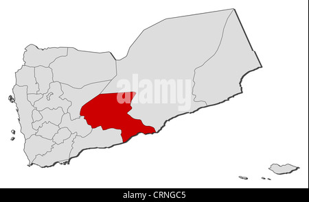 Political map of Yemen with the several governorates where Shabwah is highlighted. - Stock Photo