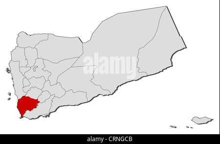 Political map of Yemen with the several governorates where Ta'izz is highlighted. - Stock Photo