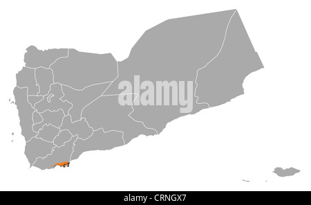 Political map of Yemen with the several governorates where Adan is highlighted. - Stock Photo