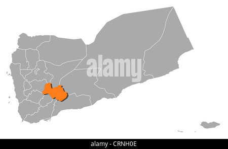 Political map of Yemen with the several governorates where Al Bayda' is highlighted. - Stock Photo