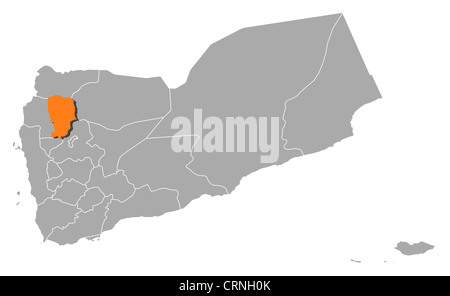 Political map of Yemen with the several governorates where Amran is highlighted. - Stock Photo