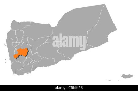 Political map of Yemen with the several governorates where Dhamar is highlighted. - Stock Photo