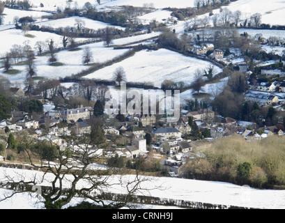Winter snow Bath and Northeast Somerset Northend Batheaston taken from Solsbury Hill England UK - Stock Photo