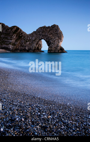 Durdle Door, a natural Limestone arch near Lulworth Cove, part of the UNESCO Jurassic Coast. - Stock Photo