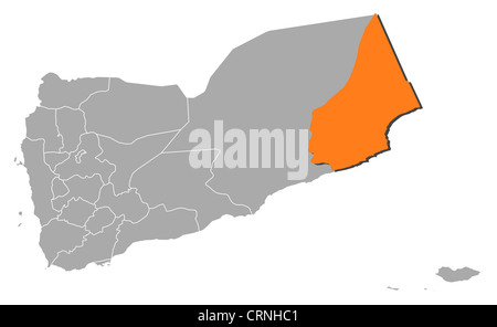Political map of Yemen with the several governorates where Al Mahrah is highlighted. - Stock Photo