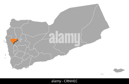 Political map of Yemen with the several governorates where Al Mahwit is highlighted. - Stock Photo