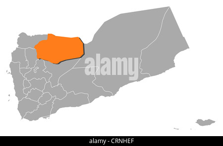 Political map of Yemen with the several governorates where Al Jawf is highlighted. - Stock Photo
