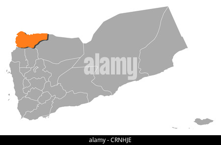 Political map of Yemen with the several governorates where Saada is highlighted. - Stock Photo