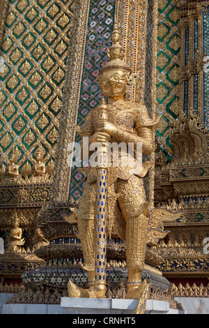 A Yaksha in the Wat Phra Kaew complex in Bangkok, Thailand - Stock Photo