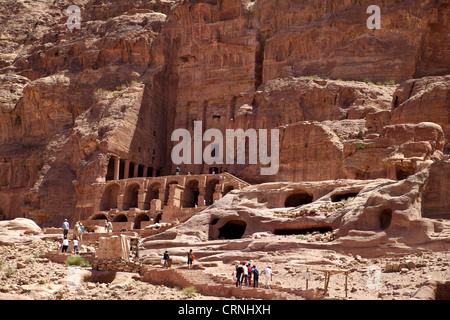 Caves and tombs at the ancient city of Petra in Jordan - Stock Photo