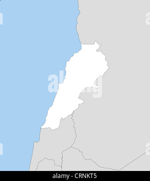Political map of Lebanon with the several governorates Stock Photo