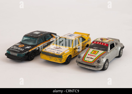 Collection of toy rally cars - Stock Photo